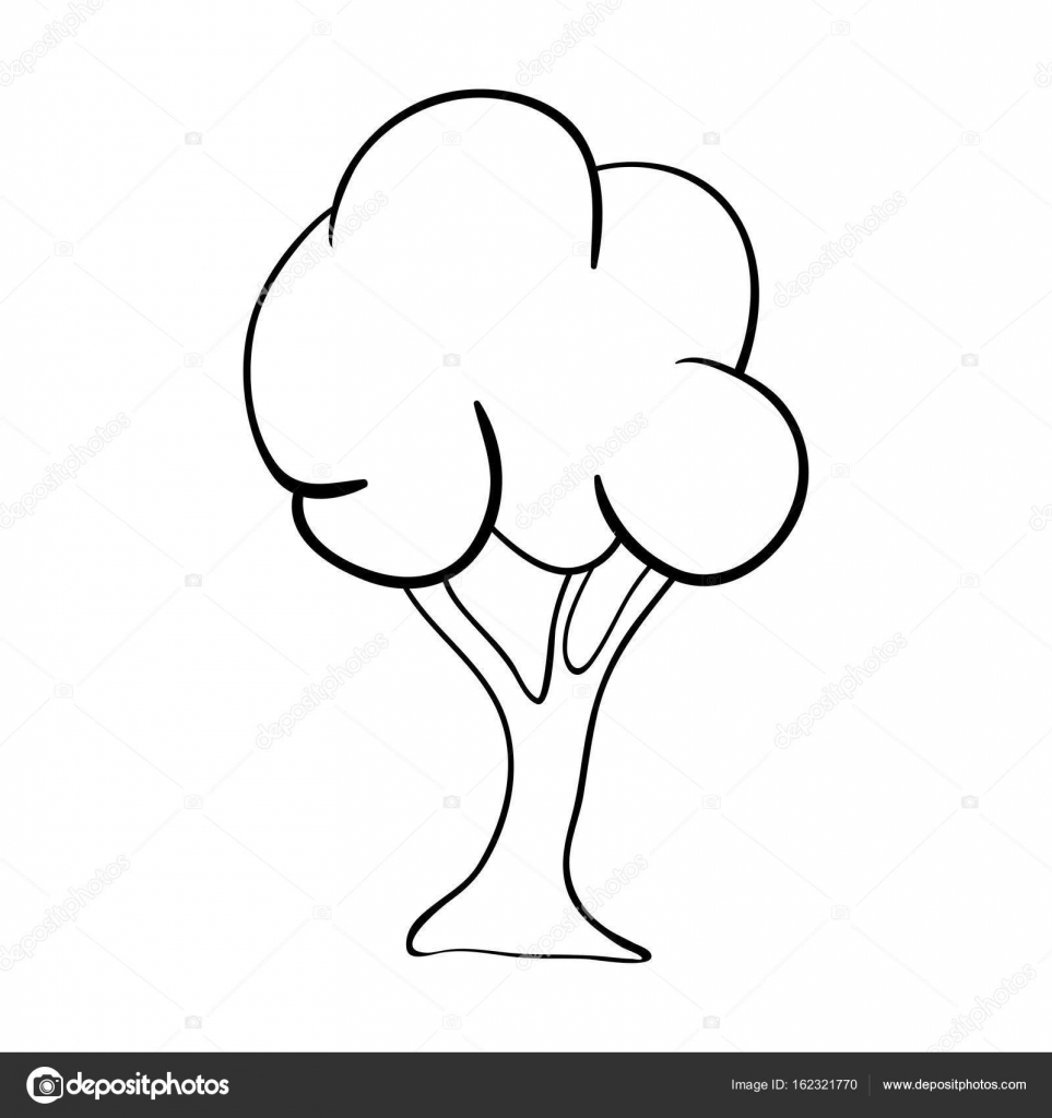 Cartoon Tree Outlinevector Symbol Icon Design Beautiful Illust
