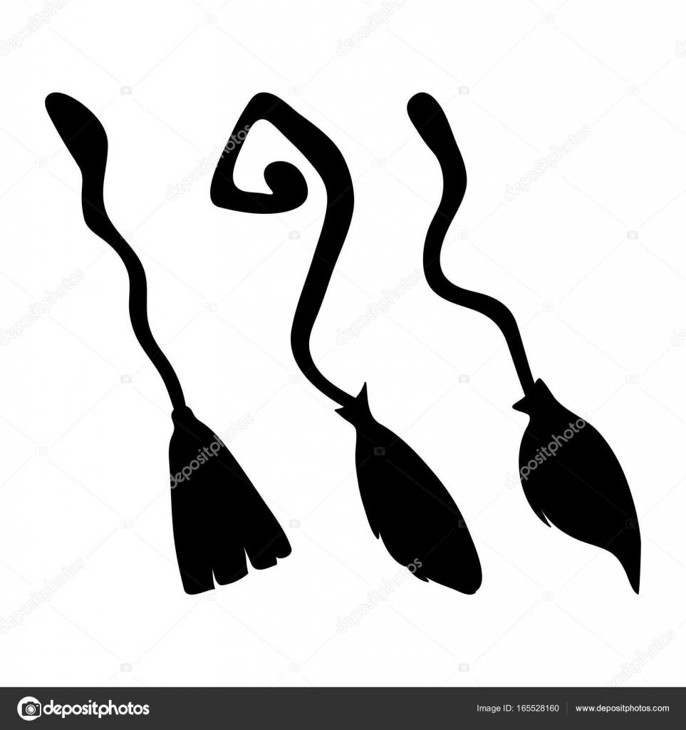 witch broom silhouette cartoon vector symbol icon design beauti