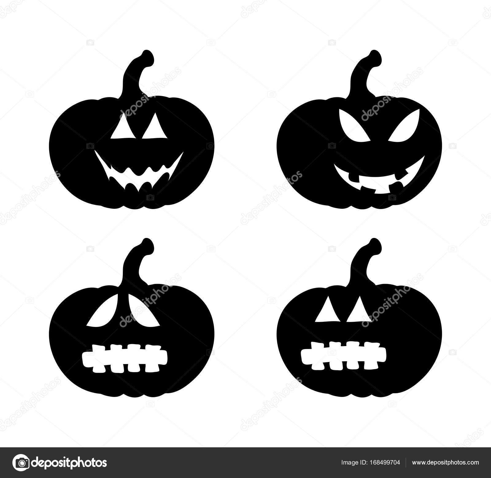 カボチャは笑顔シルエット セット ベクトル シンボル アイコン デザイン