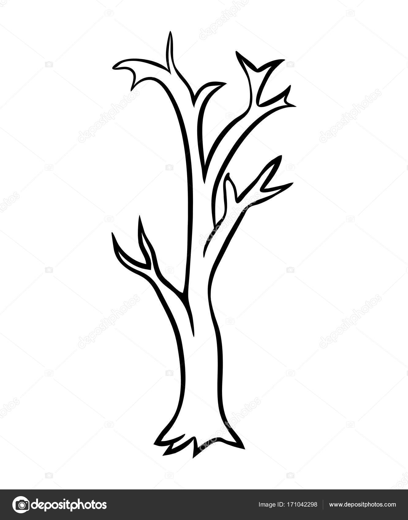 Bare Tree Outline Bare Tree Cartoon Outline Vector Design Isolated On White Backgr Stock Vector C Newelle 171042298 Large png 2400px small png 300px. https depositphotos com 171042298 stock illustration bare tree cartoon outline vector html