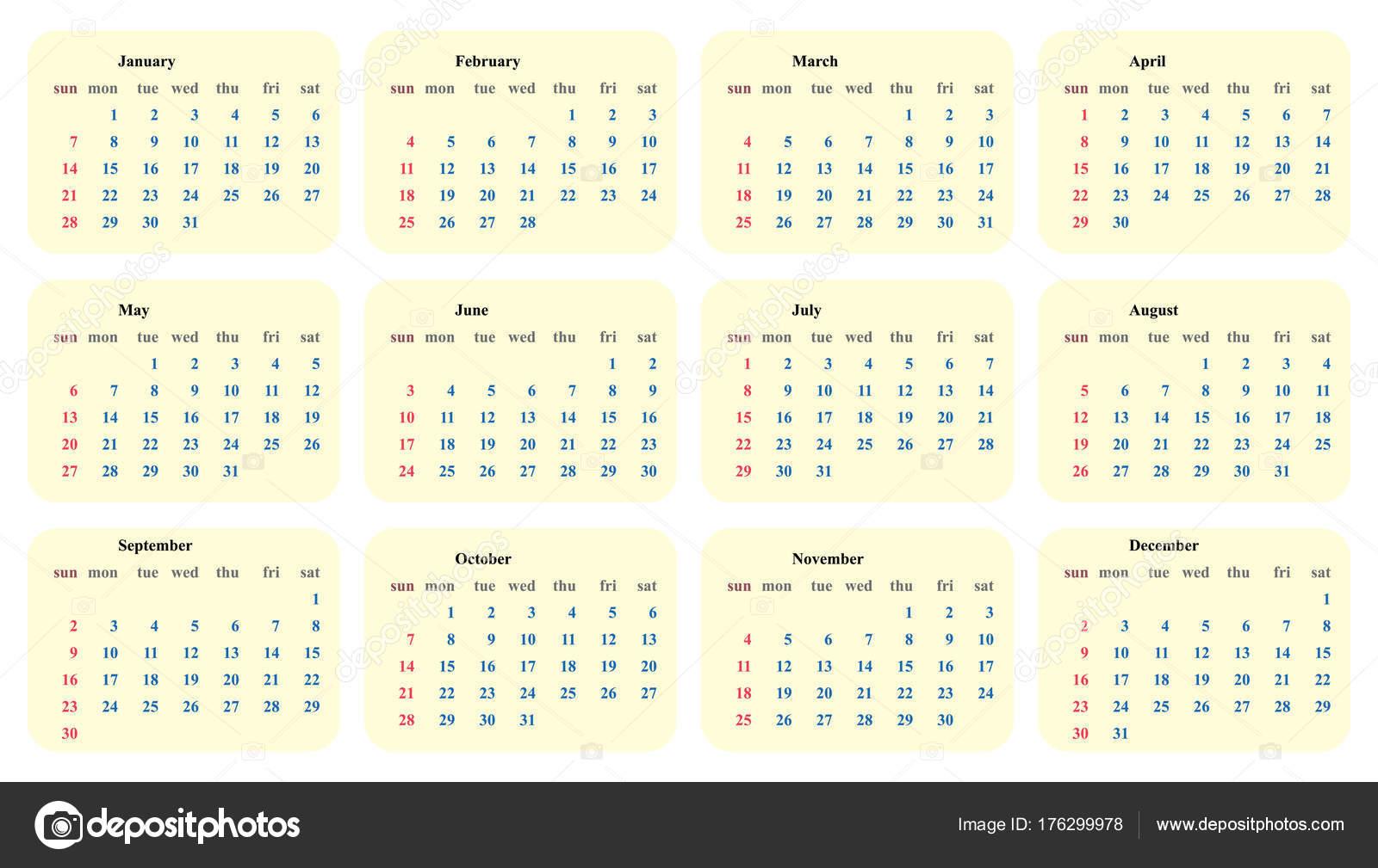 Kalender 2018 Vorlage einfache Planer-Vektor-design — Stockvektor ...