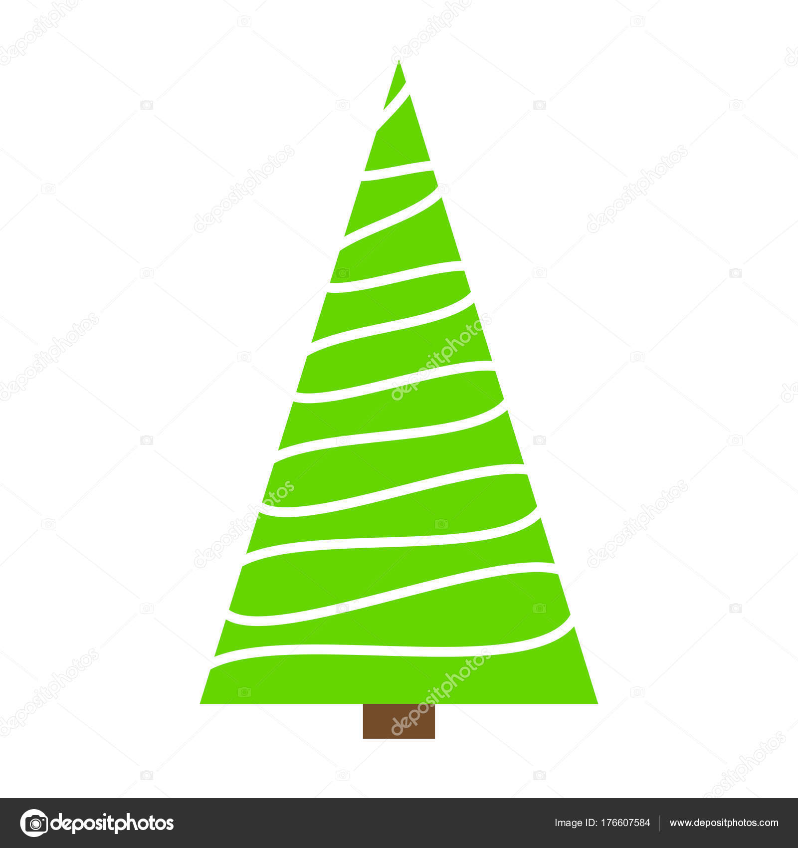 Christmas Tree Green Simple Outline Design Isolated On White Bac Stock Vector