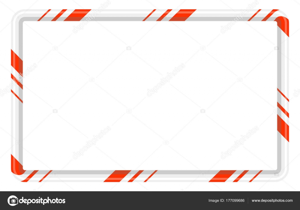 Candy Cane Frame Border For Christmas Design Isolated On