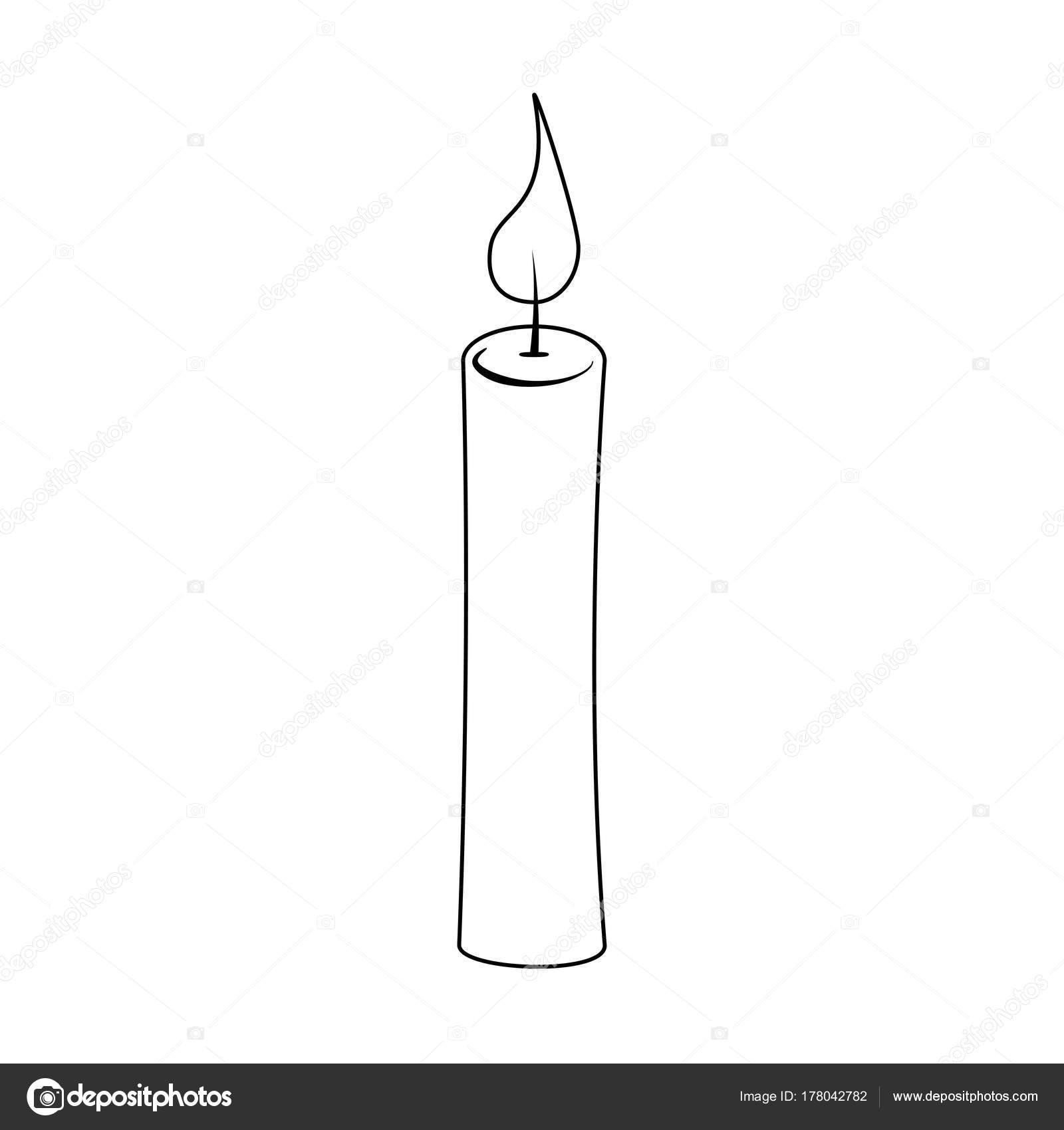 contorno de la vela de Navidad para diseño de Navidad aislado en ...