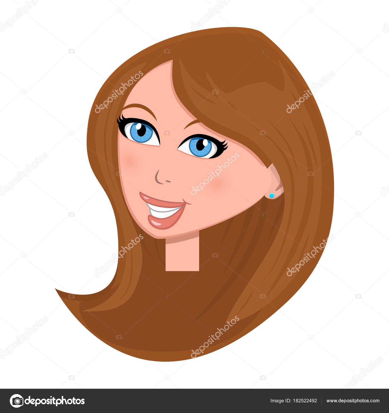 Woman Face Cartoon Illustration Isolated On White Background