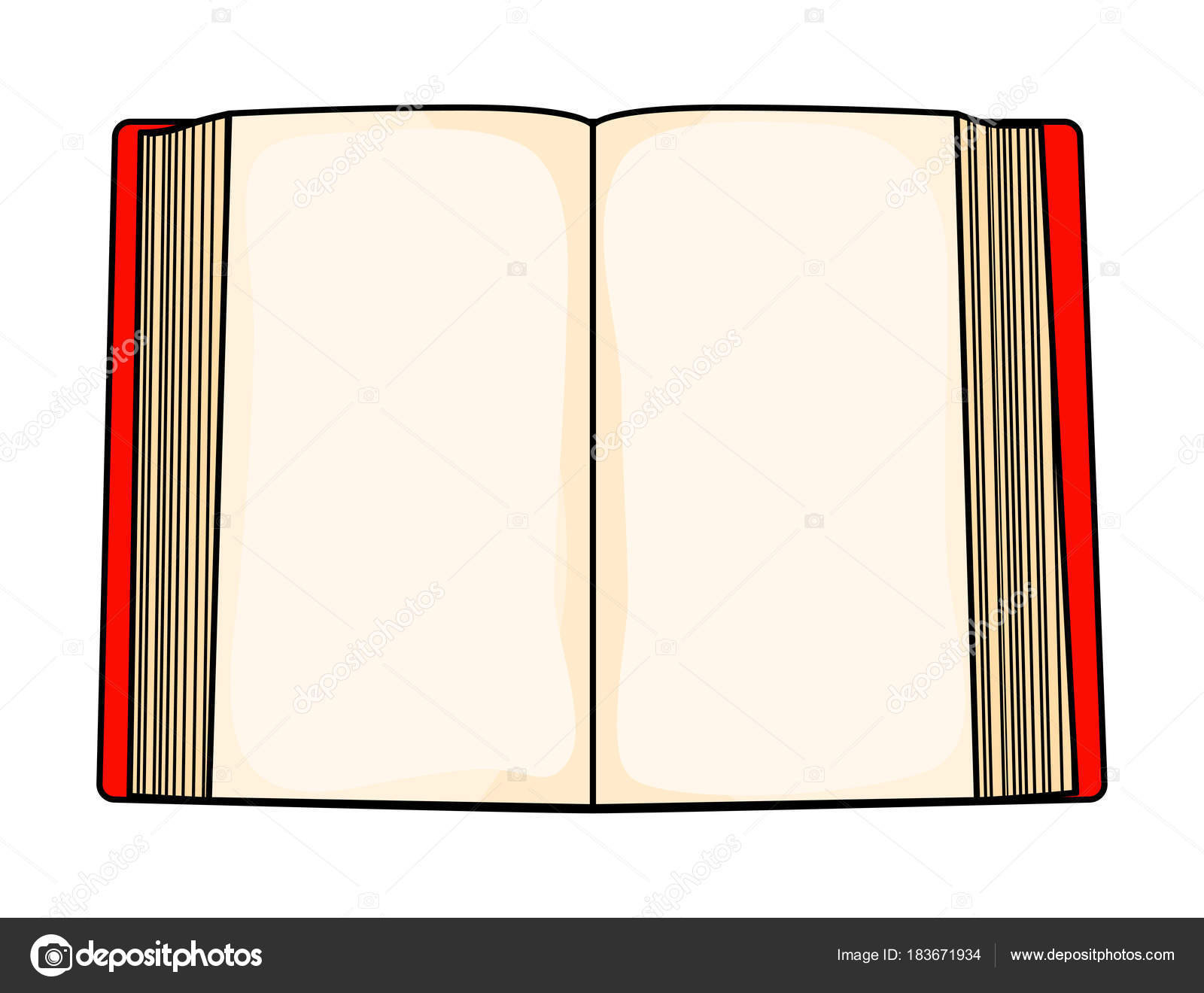 Libro Abierto Dibujo Animado Rojo Aislado Sobre Fondo