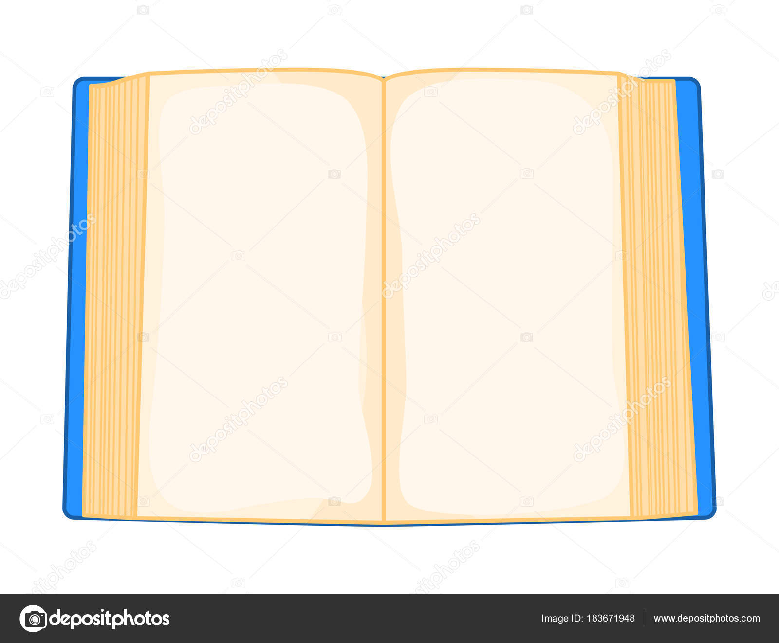 Libro Abierto Azul De Dibujos Animados, Aislado Sobre
