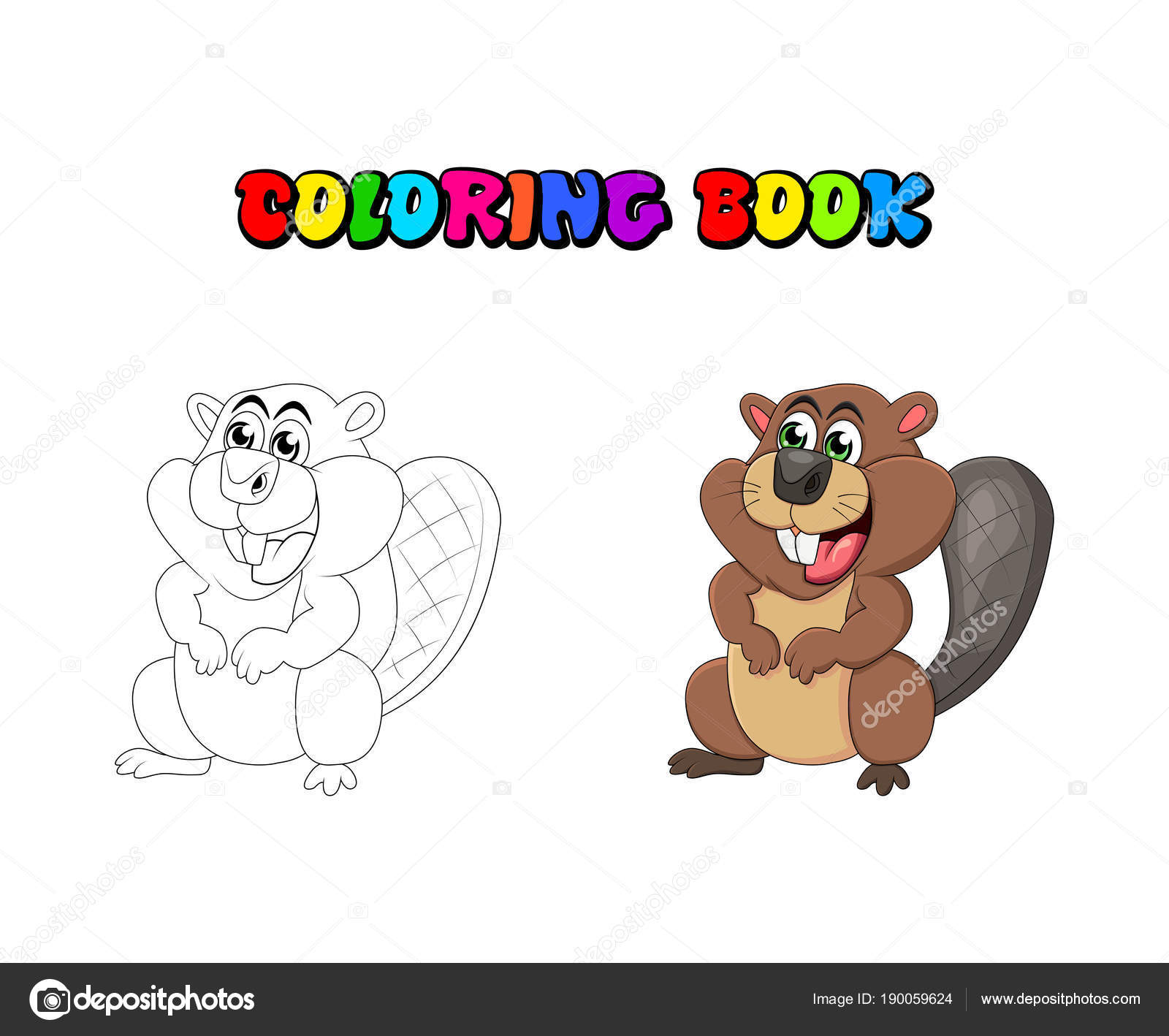 Libro Da Colorare Del Castoro Del Fumetto Isolato Su Priorità Bassa