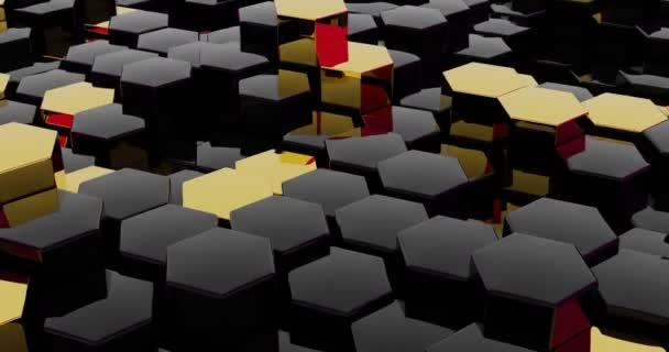 Schwarz-Gold Hexagon Hintergrund. Schleife