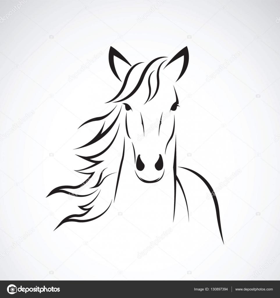 Image vectorielle d 39 un dessin de t te de cheval sur fond - Dessin facile de cheval ...