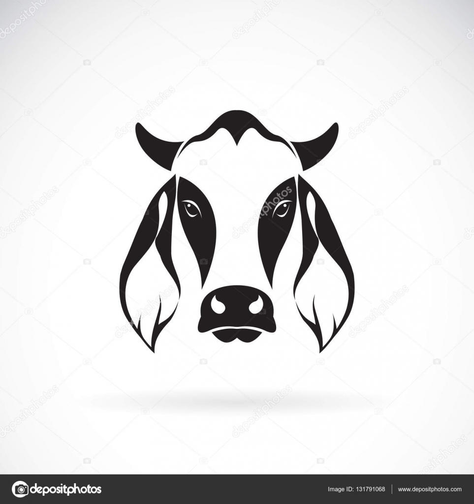 Vector de diseño de cabeza de vaca sobre fondo blanco. Logotipo de ...