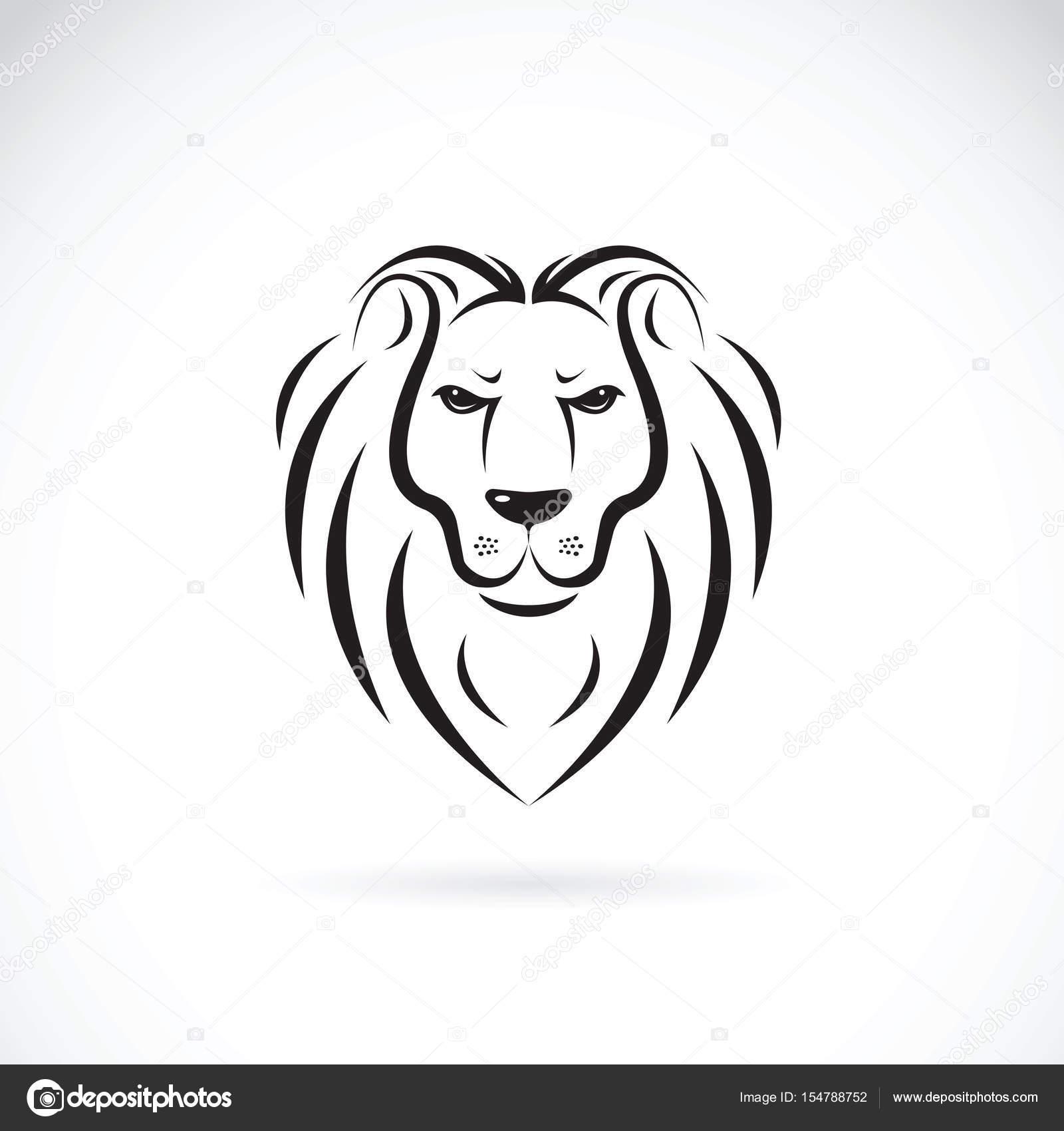 vecteur d un dessin de t te de lion sur fond blanc animaux sauvages image vectorielle yod67. Black Bedroom Furniture Sets. Home Design Ideas