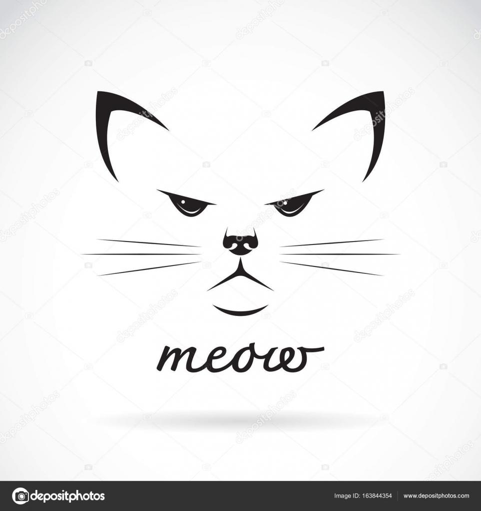 vetor de um desenho de rosto de gato no fundo branco animal de