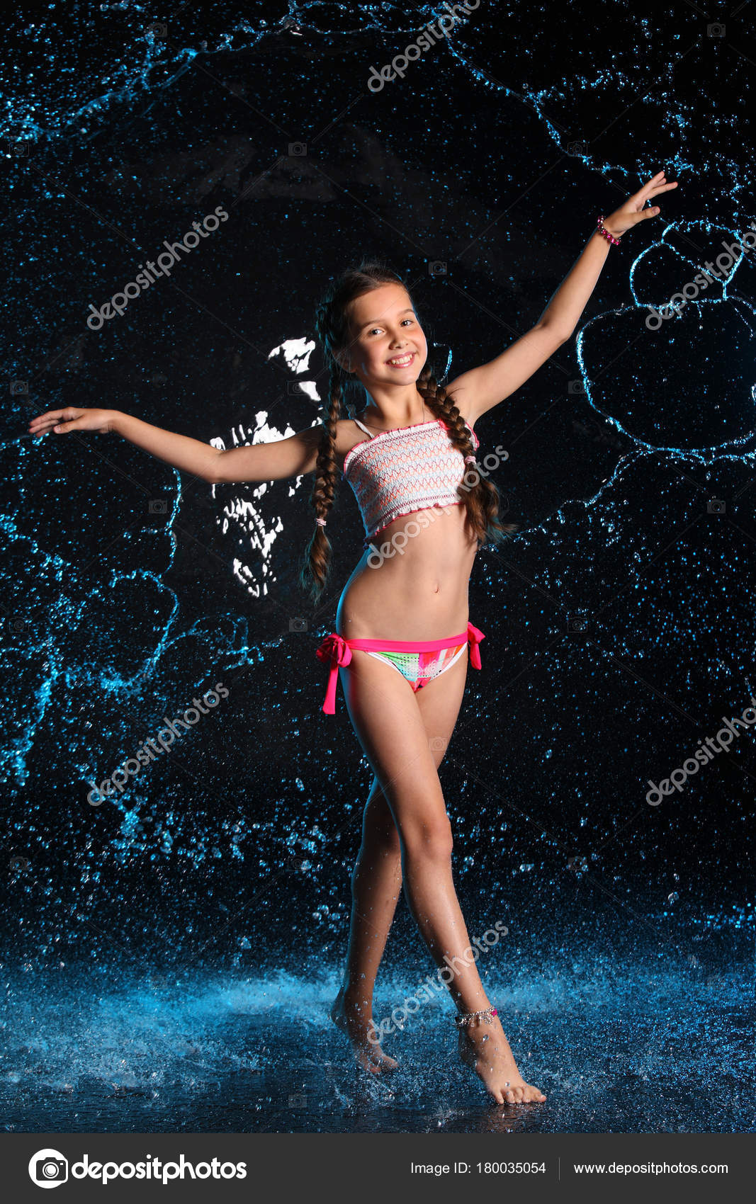 Happy Young Teenage Girl Swimsuit Stands Barefoot