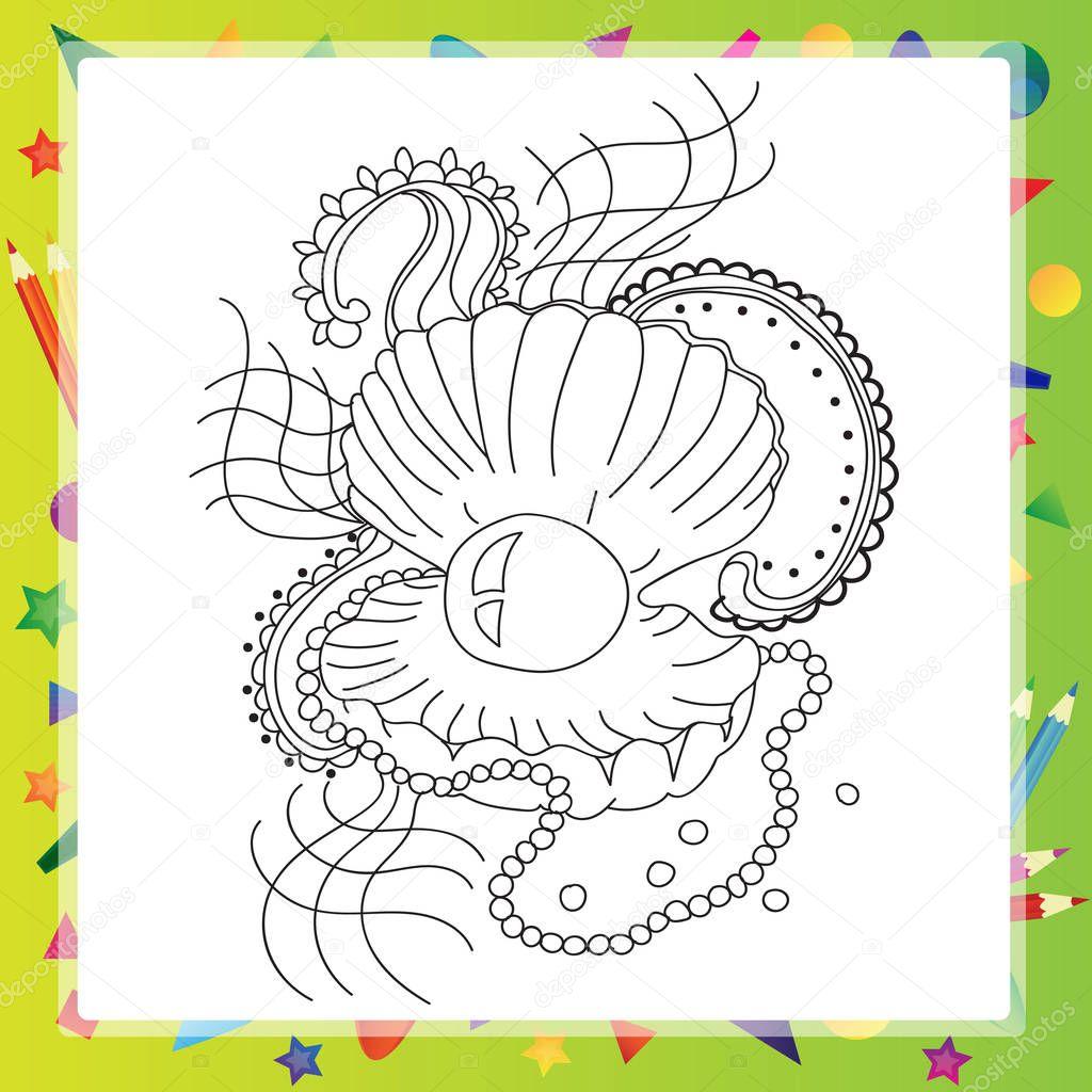 Siyah Ve Beyaz Deniz Kabuğu Boyama Kitabı Için Stok Vektör Brill