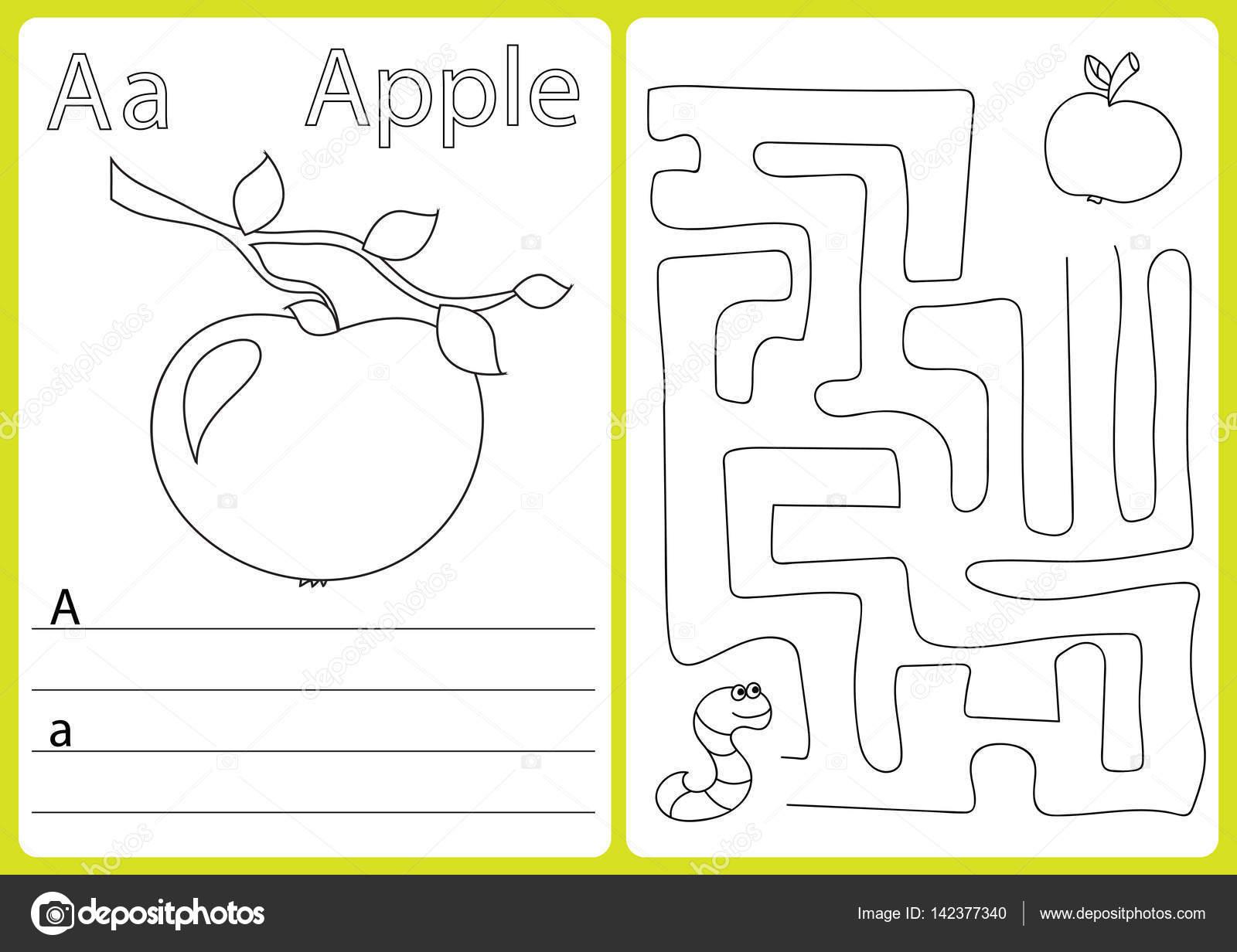 Libro de alfabeto para colorear de la A la Z - rompecabezas hoja de ...