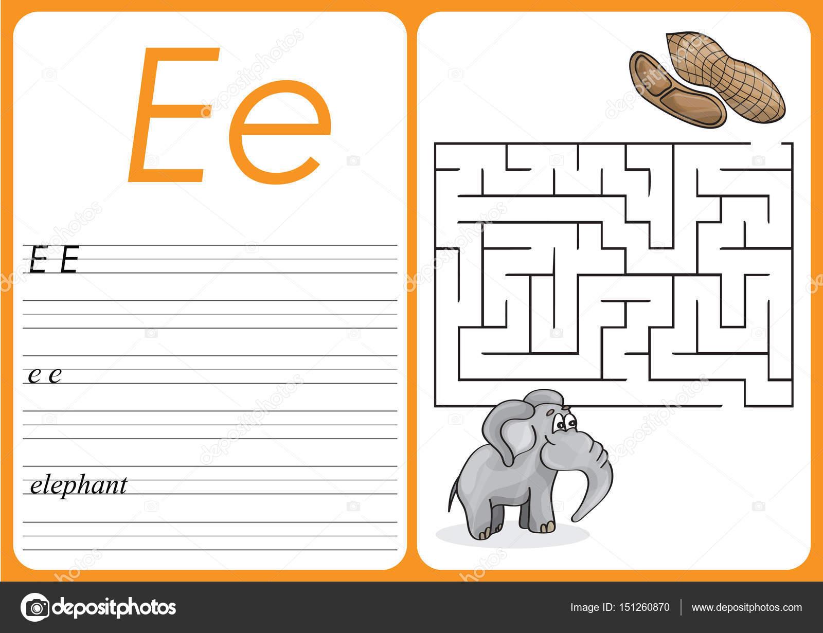 Alphabet A-Z - Puzzle Arbeitsblatt - niedlichen Elefanten und ...