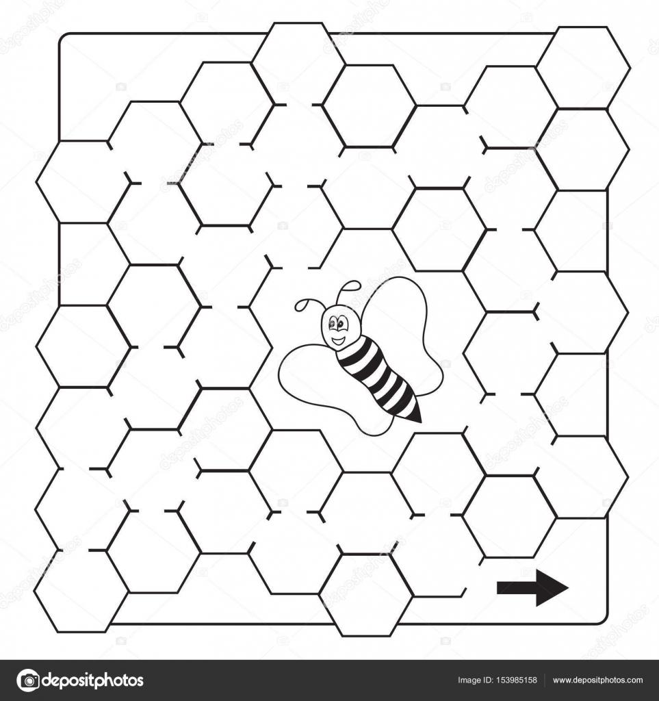 Dibujos animados abeja juego de laberinto - libro páginas de ...