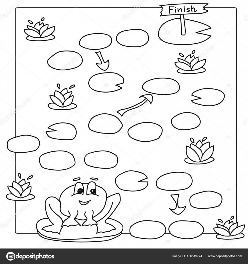 Plantilla para juego con rana. Vector para colorear páginas para ...