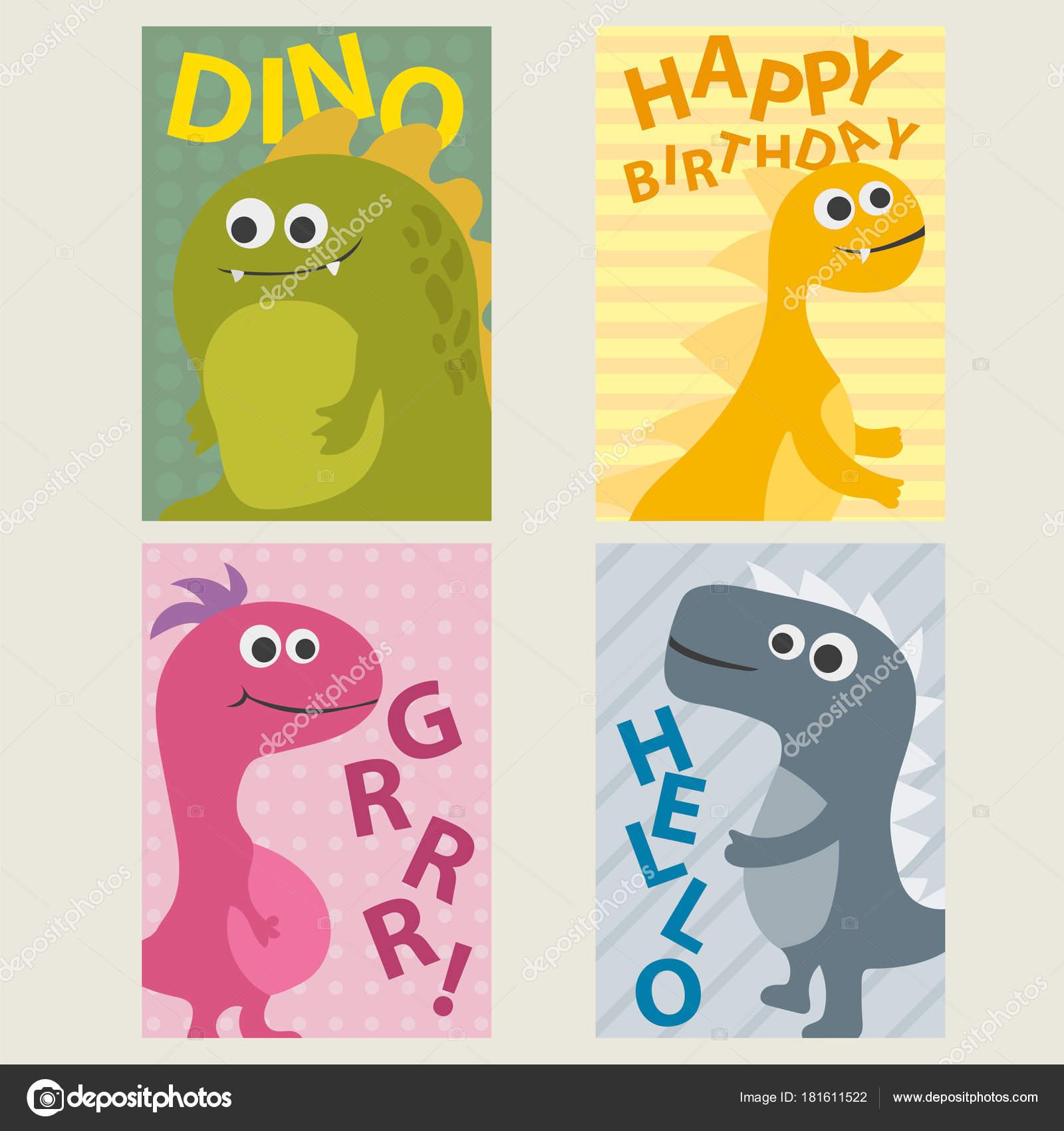Imágenes Invitaciones Dinosaurios Conjunto De 4