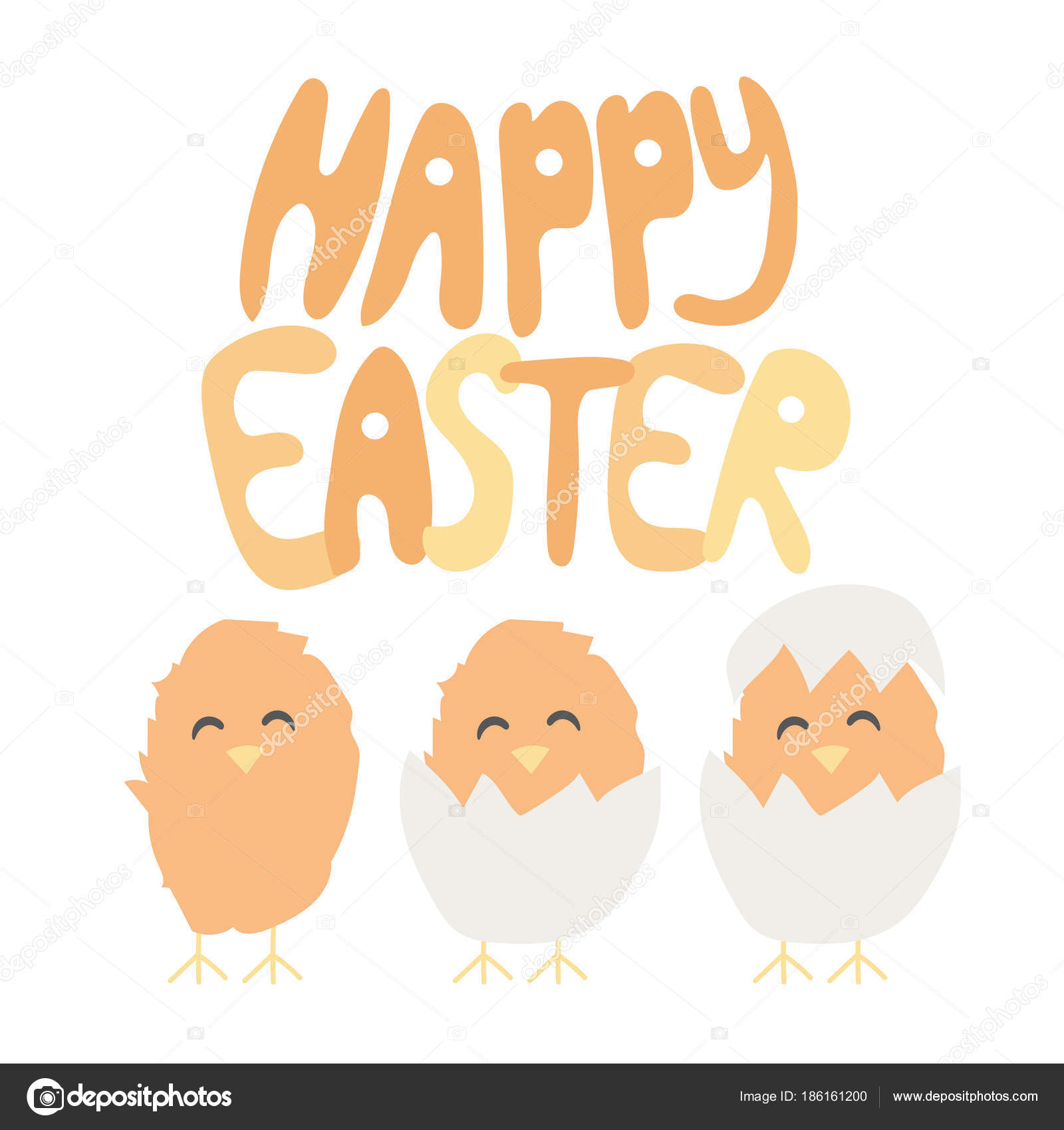Happy easter hand written font baby chiken hatched from an egg happy easter hand written font baby chiken hatched from an egg greeting card m4hsunfo