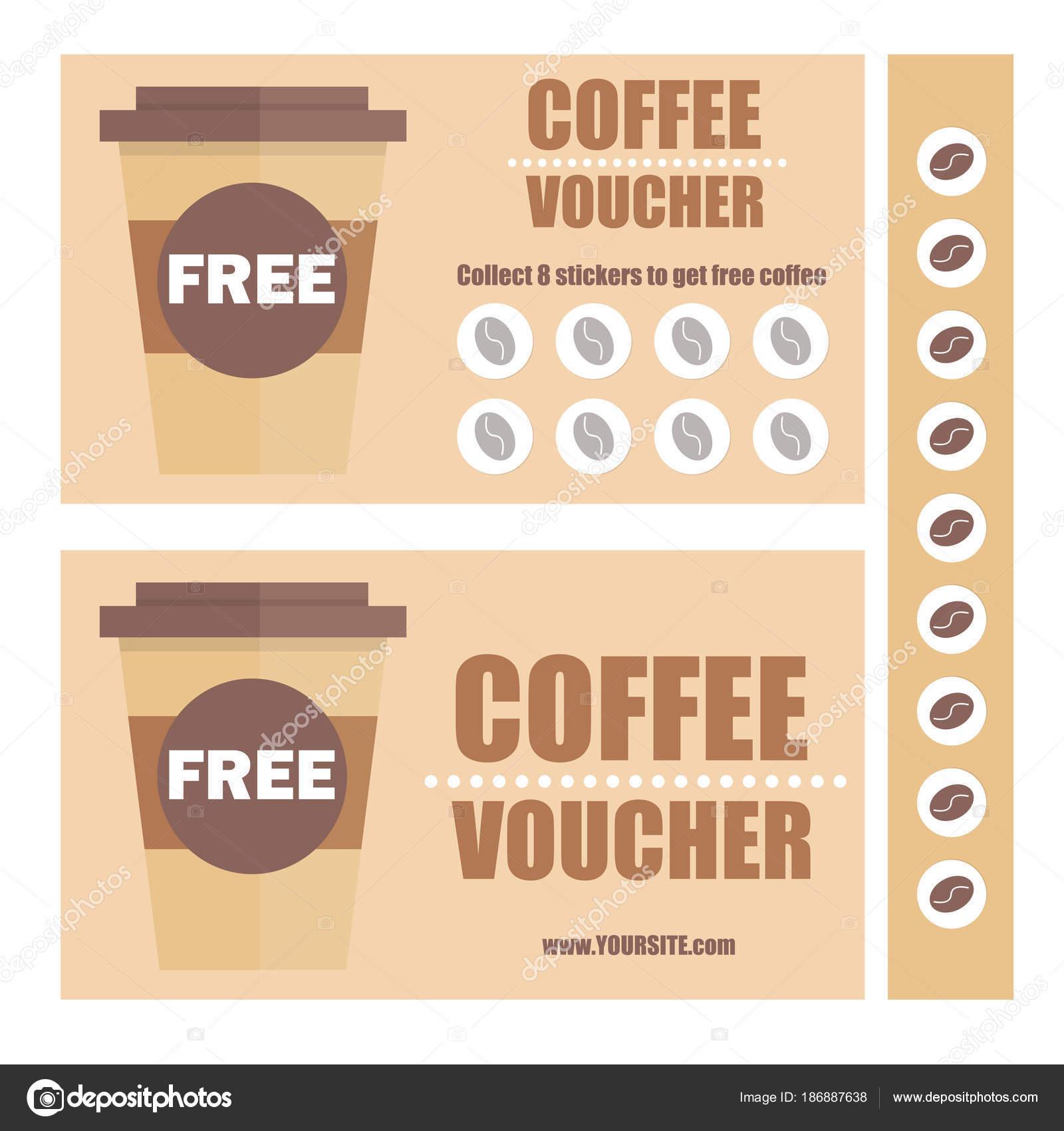 Einen Kaffee-Gutschein oder Rabatt-Gutschein. Vektor flache ...