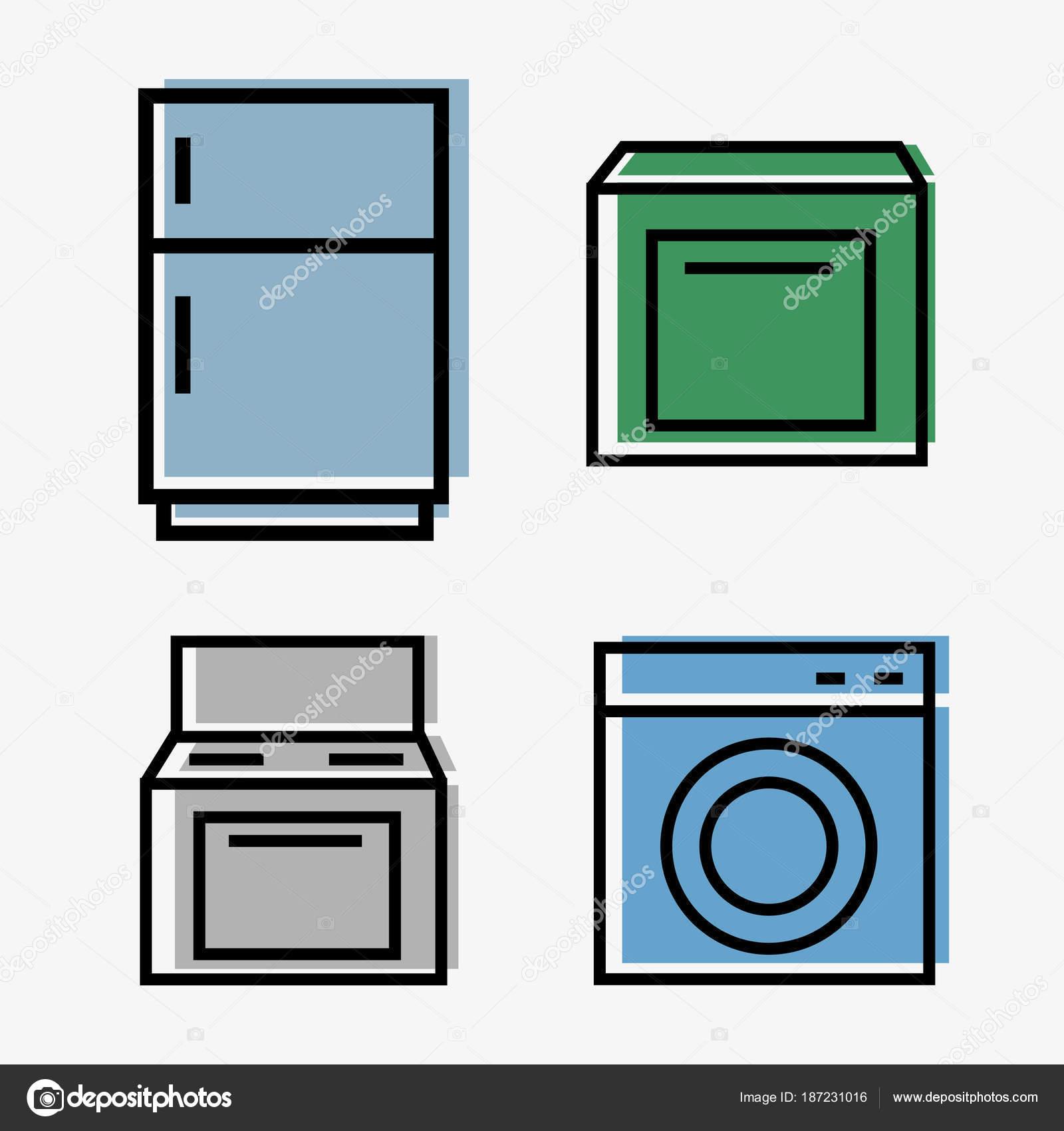 Web de electrodomésticos de cocina - set de 4 iconos - frigorífico ...