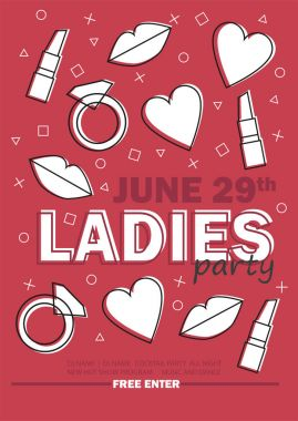 Template for Ladies night party with line sign - vector illustration