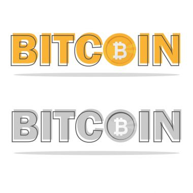Bitcoin logo with its icon and logo isolated on white background