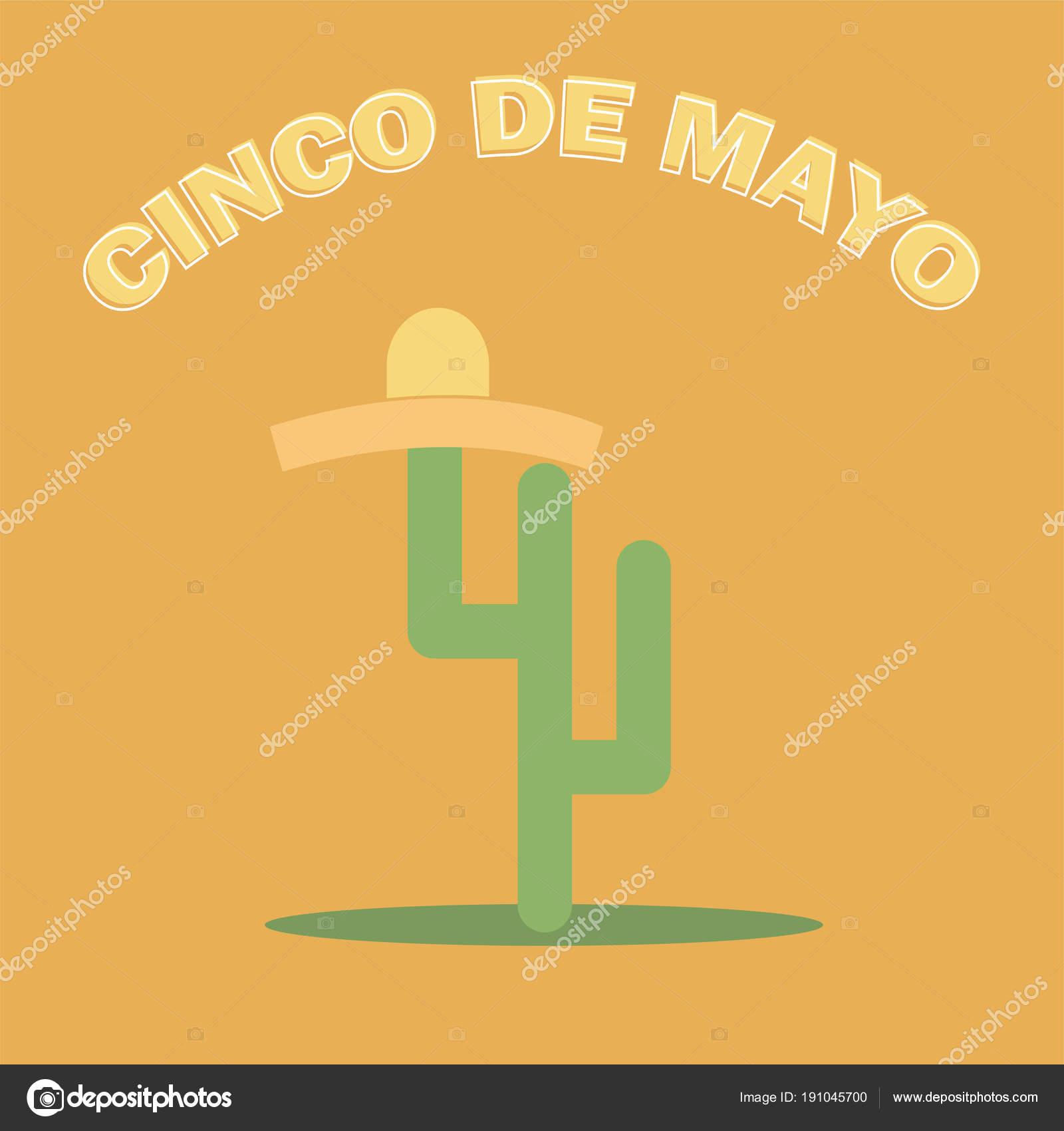 Sombrero de cinco De Mayo y cactus - festiva diseño plano. Para la celebración  mexicana f83ebf4842a