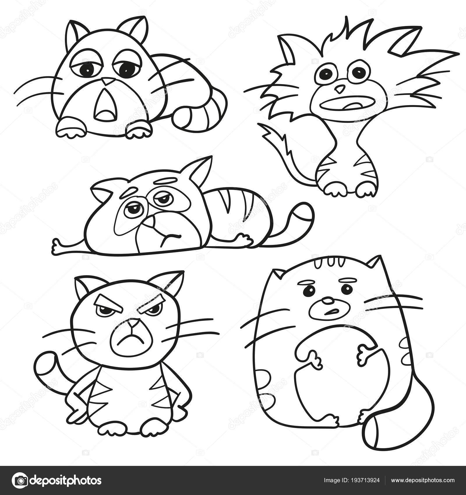 окраска страница наброски из мультфильма пушистые кошки