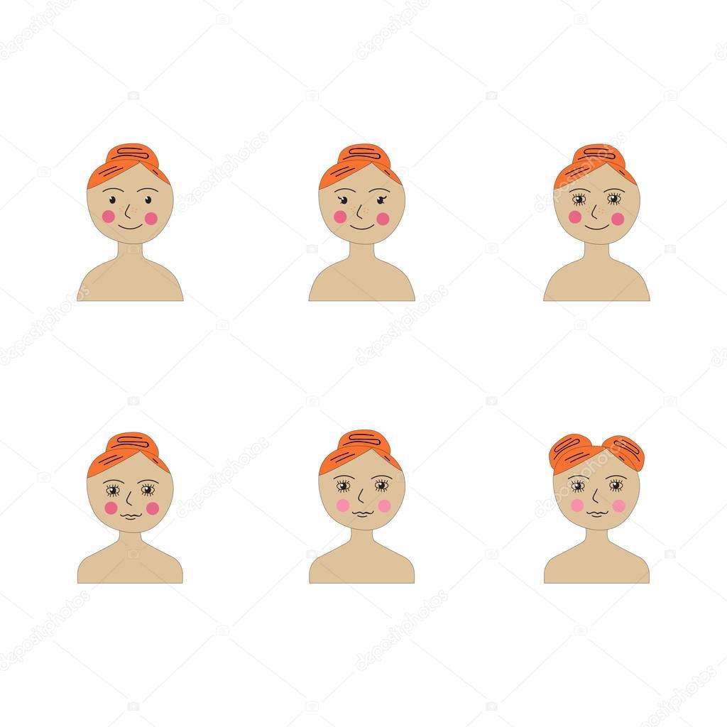 six types of cartoon girls faces stock vector natalia kurt