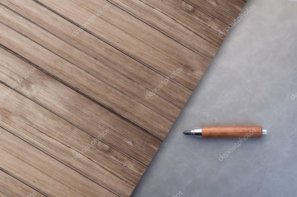 Grijs lederen vloer met oude rustieke houten vloer bovenaanzicht