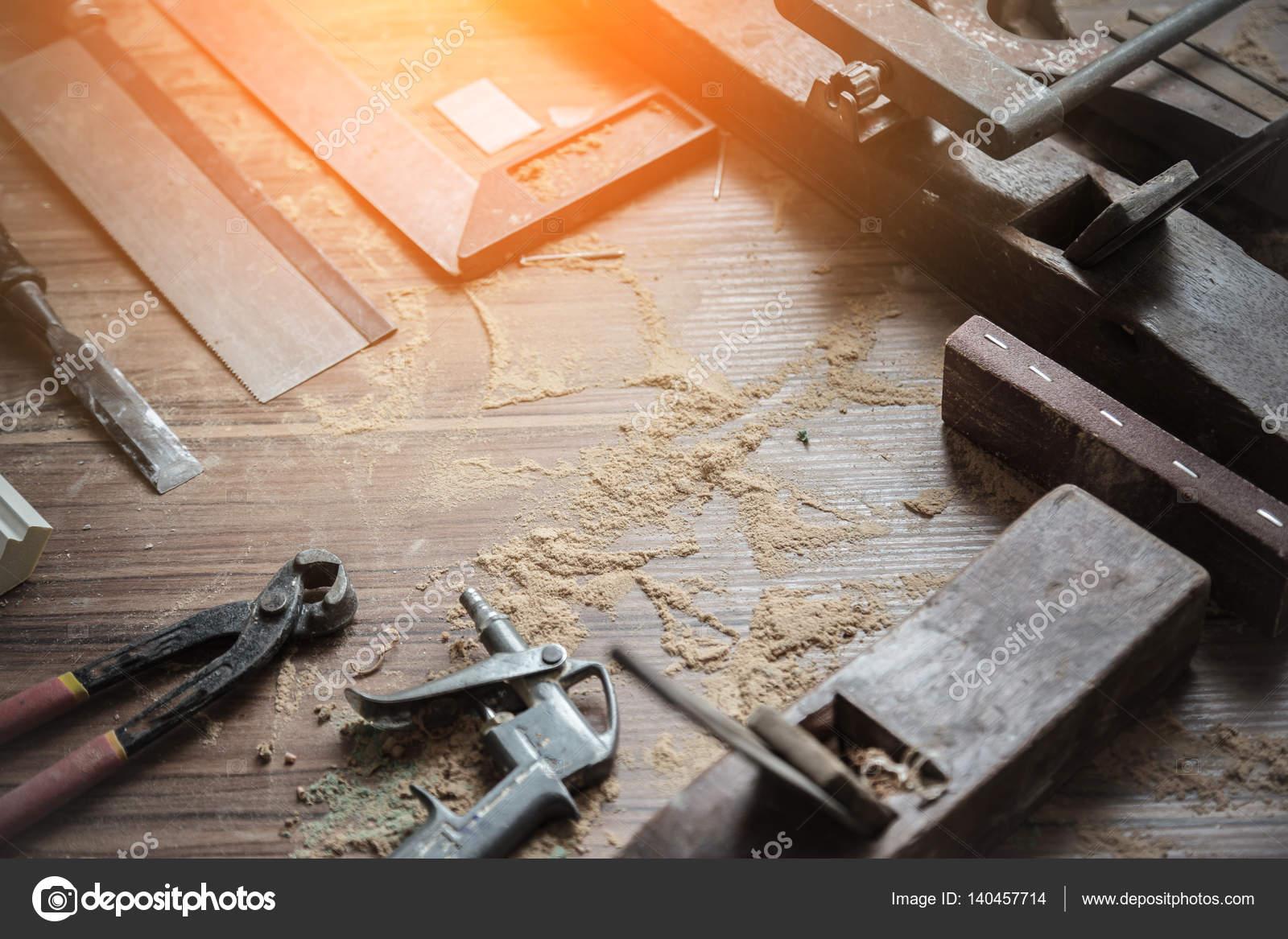 Wood Workshop Handcraft Tools Raw Wood Construction Site Stock
