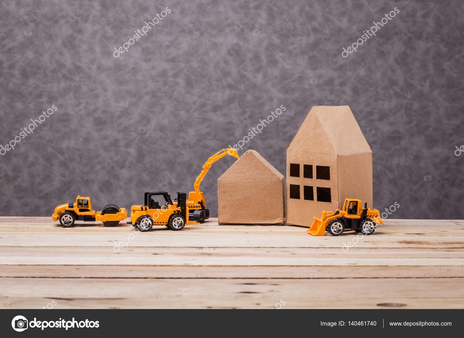 Fantastisch Haus Papier Modell Mit Spielzeug Auto Bau Ideen Konzept Auf U2014 Stockfoto