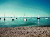 Fotografie Bayerischen Ammersee mit Booten auf dem See
