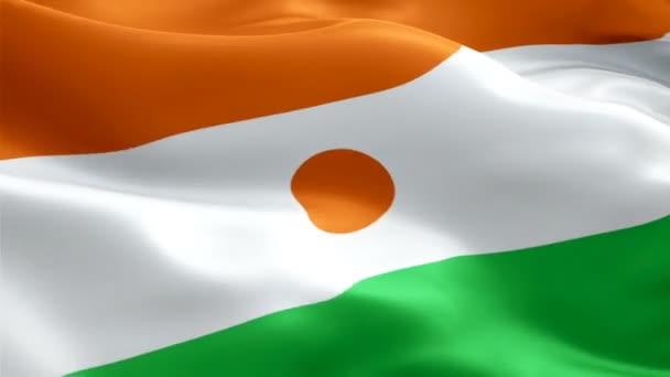 Die nigerianische Flagge weht im Wind. Realistischer Hintergrund der nigerianischen Flagge. Niger Flagge Looping Nahaufnahme 1080p Full HD 1920X1080 Filmmaterial. Niger Afrika Land Flaggen Filmmaterial Video für Film, Nachrichten