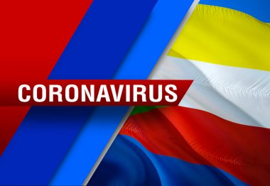 NEWS of coronavirus COVID-2019 on Comoros country flag background. Deadly type of corona virus 2019-nCoV. 3D rendering of coronavirus bacteria. Comoros flag illustration in NEWS style, dangerous viru