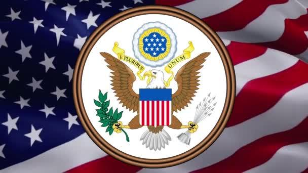 Vereinigte Staaten Siegel auf der Flagge der USA auf einem Hintergrund der Vereinigten Staaten. Hintergrund der amerikanischen Flagge für Feiertage in den Vereinigten Staaten. Hintergrund: amerikanische Flagge. Feiertag des Präsidenten USA -Washington, 2. Mai 2019