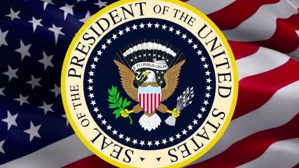 Amerikanischer Adler. Großes Siegel der Vereinigten Staaten auf der Flagge der USA. Amerikanischer Präsident US Great seal. National Eagle Sign auf der Flagge der USA Background.US Wappen-Washington, 2. Mai 2019