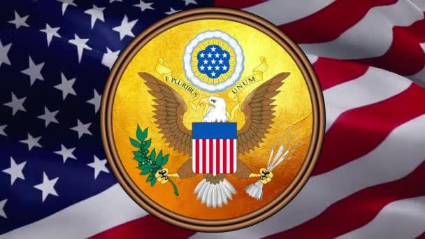 Vereinigte Staaten Siegel mit goldener Textur auf US-Flagge Design auf einem Hintergrund der Vereinigten Staaten. Unabhängigkeitstag der USA. Hintergrund der amerikanischen Flagge: Die Flagge der Vereinigten Staaten -Washington, 2. Mai 2019