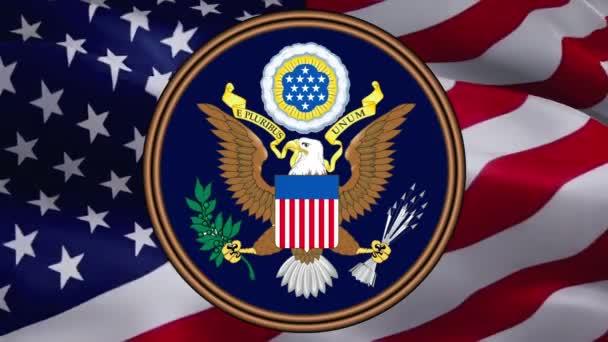 Großes Siegel der Vereinigten Staaten. American Bold Eagle Nationalsymbol. Amerikanischer Adler. Flagge der USA und Zeichen des Weißen Hauses. Politik-Konzept. Happy Presidents Day. Vereinigte Staaten -Washington, 2. Mai 2019