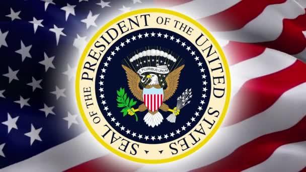 Siegel des Präsidenten der Vereinigten Staaten mit dem Hintergrund der US-Flagge. US-Siegel für den Tag des Präsidenten. Siegelentwurf des Präsidenten isoliert auf einem Konzept der US-Präsidenten -Washington, 2. Mai 2019