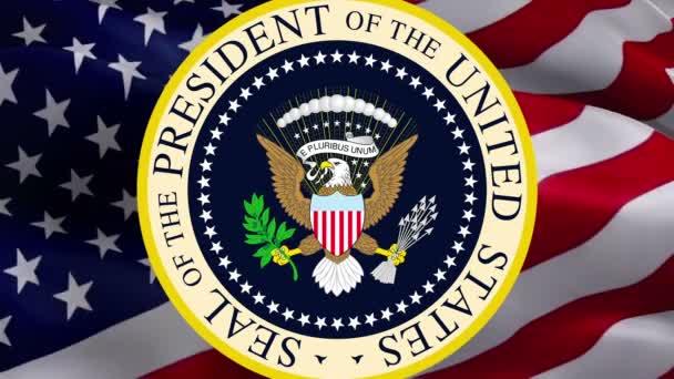 Offizielles Siegel des Präsidenten der Vereinigten Staaten. Glücklicher Unabhängigkeitstag der USA. Hintergrund der amerikanischen Flagge. Die Flagge der Vereinigten Staaten von Amerika, Werbung, Vorlage -Washington, 2. Mai 2019