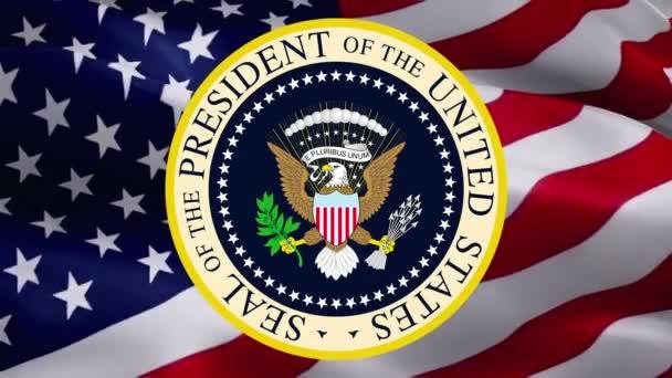 Siegeldesign des Präsidenten vor dem Hintergrund der Vereinigten Staaten. Hintergrund der amerikanischen Flagge für Feiertage in den Vereinigten Staaten. Hintergrund der amerikanischen Flagge. Banner für den Tag des Präsidenten. Feiertag der USA -Washington, 2. Mai 2019