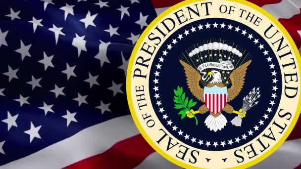 Seal of the President of the United States on USA flag. American presidential / Great seal. American eagle. American Presidential National Eagle Sign on USA flag Background -Washington, 2 May 2019