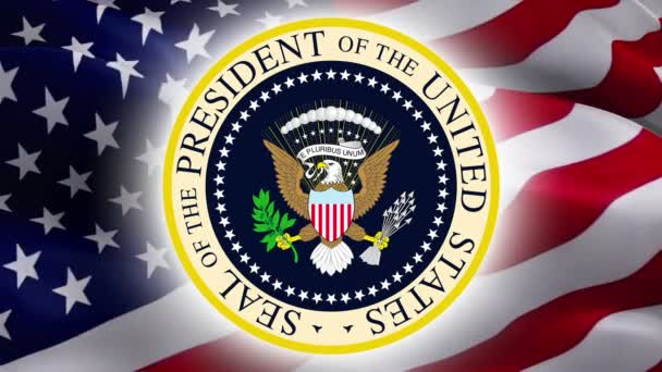 American Bold Eagle National Symbol. Coat of arms of president of US United States in White House. American eagle. USA flag and sign of White House. Politics Presidents Day -Washington, 2 May 2019