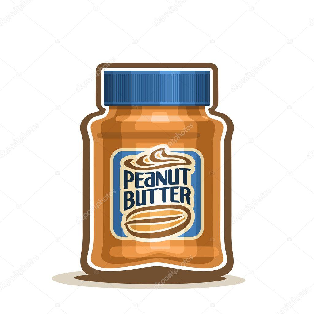 Vector logo tarro de mantequilla de maní con etiqueta — Vector de ...