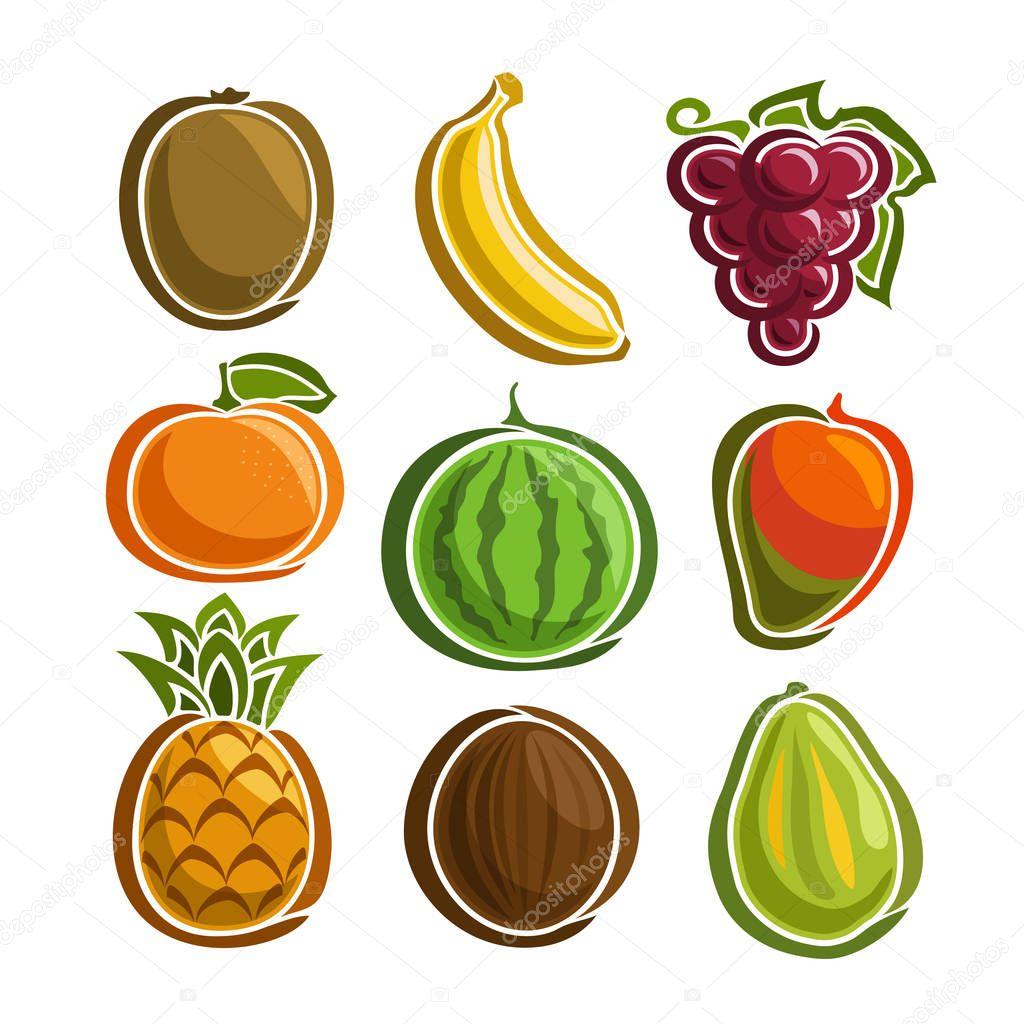 ベクトル カラフルな果物アイコンを設定 ストックベクター Mihmihmal