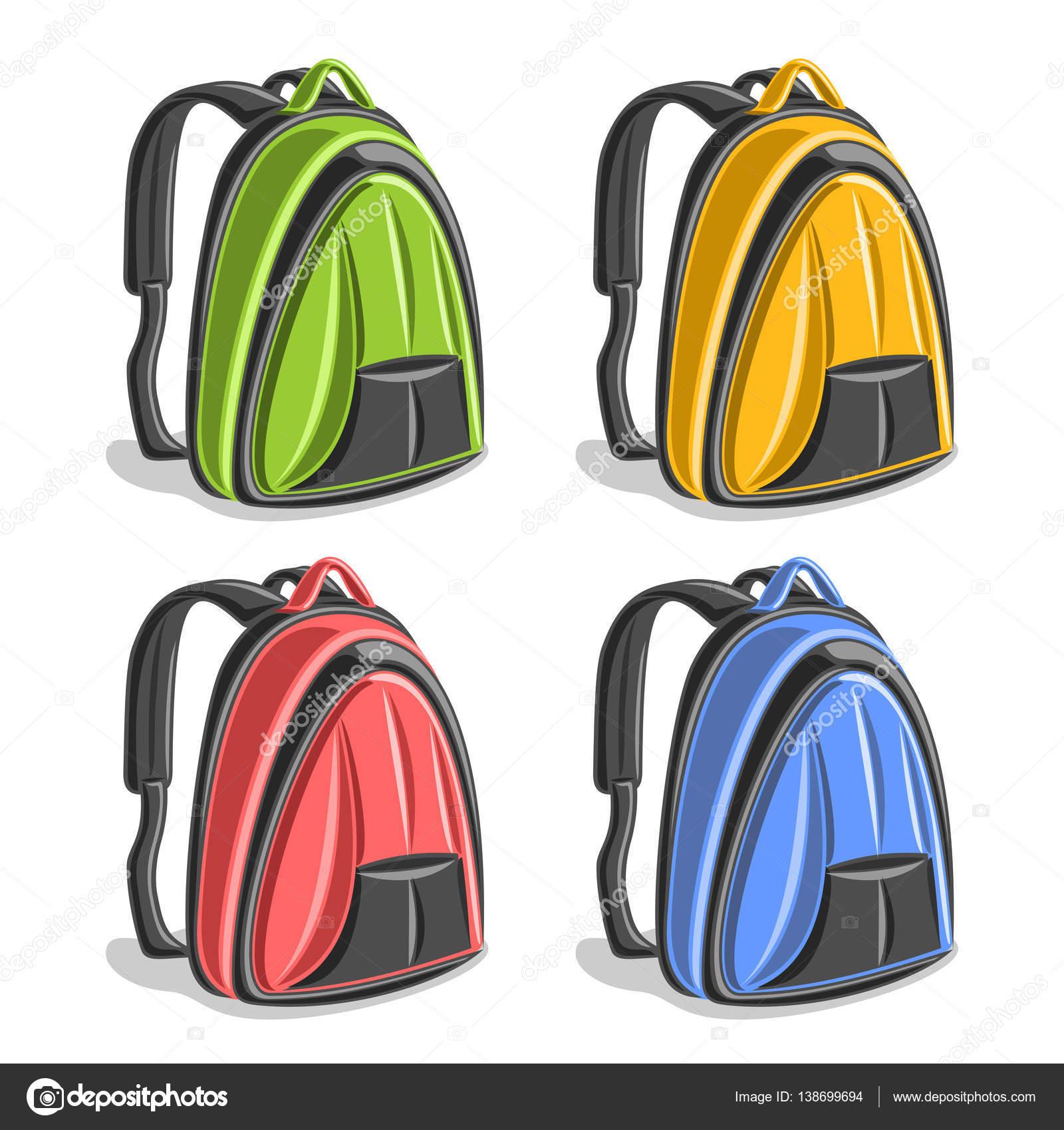 27064a7d62 Διάνυσμα σύνολο πολύχρωμο πεζοπορία σακίδια — Διανυσματικό Αρχείο ...